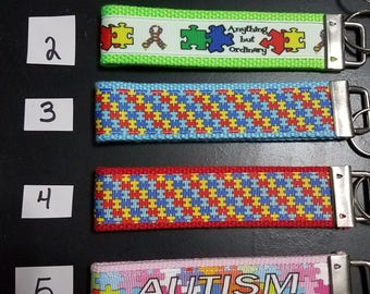 Autism awareness key fob, puzzle pieces keychain, anything but ordinary wristlet