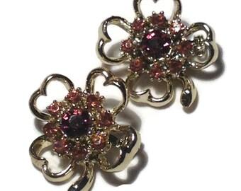 Vintage Goldtone and Purple Rhinestone Clip Earrings