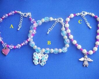 7.25  inches Girl Beaded Bracelet,girls jewellery, Jewelry UK,gift for girl