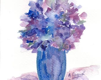 Bouquet of purple and blue - original watercolor painting