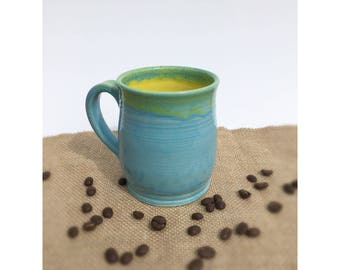 Pottery mug, mug, coffee cup, turquoise, yellow, bright mug, handmade, wheelthrown, stoneware, ceramic mug,