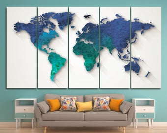Aquamarine Large World Map Canvas, Navy blue world map wall art Aquamarine map abstract world map Aqua word map canvas, Blue world map print