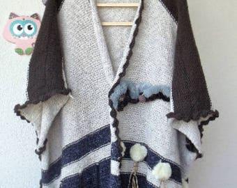 poncho knit poncho plus size poncho over size poncho knitted poncho