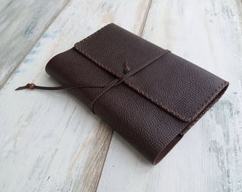 Brown Leather Book Cover Handmade Journal Case Bag