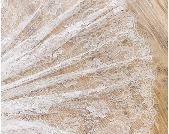 3 METER Flower Eyelash lace, Off-White very soft Chantilly Lace, Bridal Lace Fabric, Evening dress Lace, Lingerie Lace,- (CLF54303-W)