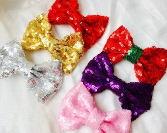 Girls hair bows sequin hair bows large sequin bows girls hair clips sequin bow hair clips Christmas hair bows Christmas hair clips