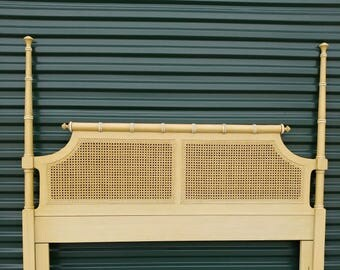 Henry Link Faux Bamboo Queen Headboard   Vintage Headboard   Palm Beach Style