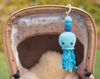 Jellyfish Mobile- Jellyfish Rattle- Personalized rattle- Hanging Mobile- Play Gym toy- Car seat Toy- Pram Toy