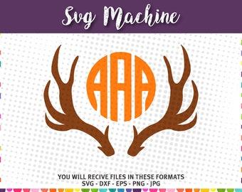 Deer Antlers SVG - png - eps - dxf -jpg - Cut File - Silhouette - Cricut - Deer Antler - Antler Monogram Frame SVG - Deer Rack SVG