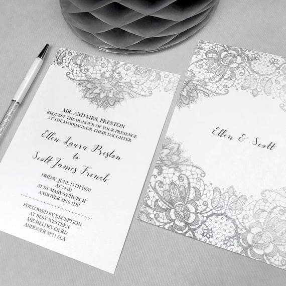 Elegant lace wedding invites, Lace wedding invite set, Wedding invites cheap, Metallic silver wedding invitations online, A5