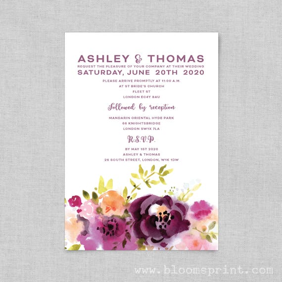 Wedding Invitation, Purple floral wedding invitation template, Boho wedding invite template, Printable wedding invitation template, A5