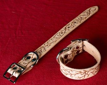 Viniot BDSM Restraints - A handsome pair of leather wrist cuffs with a wondeful vine pattern burned in! Leather cuffs, Wrist cuffs