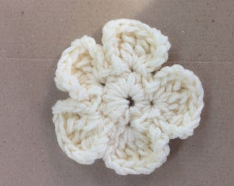 Handmade Crochet Flower Clip Barrette Accessory - Hair, Purse, etc. - Off White - 1