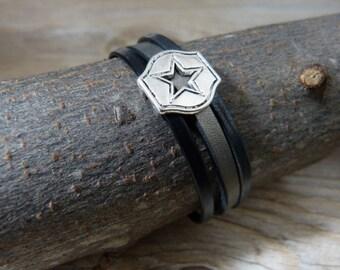 Mens leather star bracelet