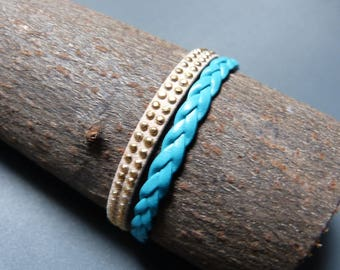 Braided Cuff Bracelet & suede nailed