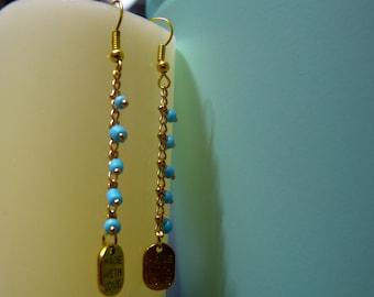 Earrings Golden sky blue seed bead chain & wich made love