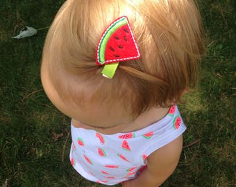 Watermelon hair clips, summer clips, pigtail clips