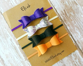 Halloween headband set, baby bow headband, Halloween bow headband, faux leather bow, spider web bow headband, newborn headband