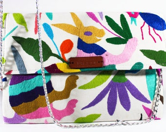 Mexican Otomi hand embroidered Tenango clutch with removable crossbody chain strap