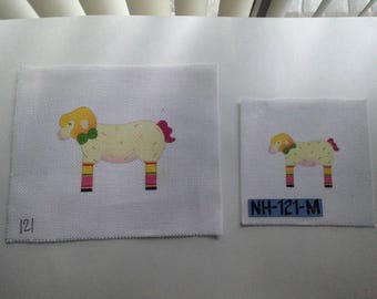 2 Lamb HANDPAINTED NEEDLEPOINT Canvas NH-121-M Large 13ct. Small 18ct.