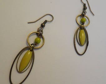 Bronze sequins glazed lime navettes and oval rings earrings