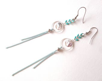 Dangling earrings, spikes, turquoise and silver, hammered sequins and silver rings, turquoise and silver necklace