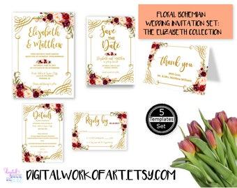 Wedding Invitation Template,Invitation Suite Template, Marsala Wedding Invitation,Editable Wedding Invite,Instant Download,Printable,#lc168B