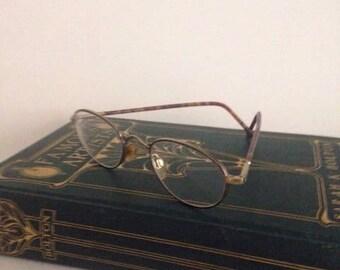 Giorgio Armani Eyeglasses Gold wirerim Tortoise Shell Made in Italy 49-21 135