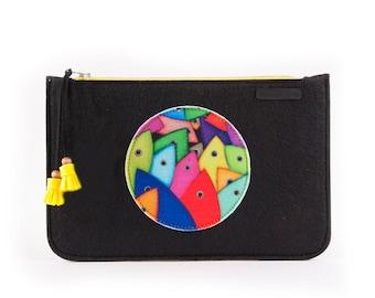 BiggDesign Clutch Bag, Standout Clutch Bag, Black Clutch Purse, Felt Clutch Bag, Zipper Clutch, Gift For Her, Designer Clutch Bag