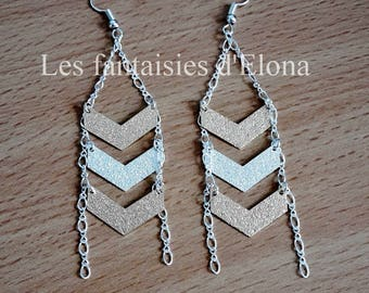 Earrings with gold and silver Chevron
