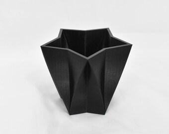 3D Geometric Star Planter Black