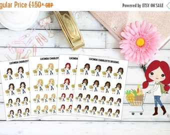 Last Call Reduced 20% Groceries Girl Character Food Shopping Trolley Dark Skin/Light Skin/Blonde/Brunette/Red Head - Planner Stickers