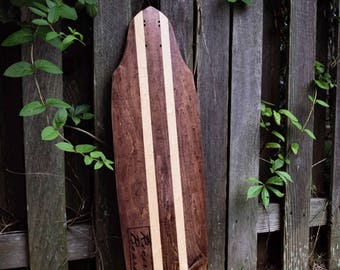 Custom Red Mahogany With Natural Surfstripes Revert Boards Longboard/Skateboard Cruiser Deck