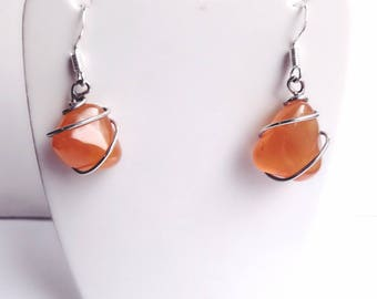Carnelian & 925 Sterling Silver earrings