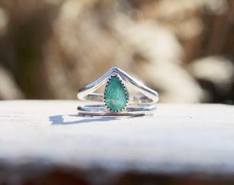 Natural Carico Lake Turquoise boho wishbone band Sterling Silver Ring SIZE UK: Q1/2