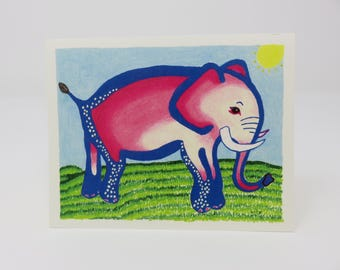 10 Pink Elephant Cards//cards//hand made//elephant cards//pink cards