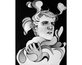 Original Canvas Painting Acrylic One of a Kind OOAK Surreal Hand Painted Modern Male Portrait Contemporary Black and White Decor Gallery Art