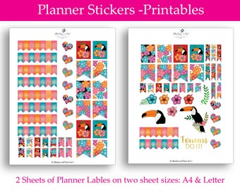 Toucan Planner Stickers, printable Planner stickers, Summer Floral Stickers, Tropical Planner Stickers, tropical Stickers, Toucan Bird