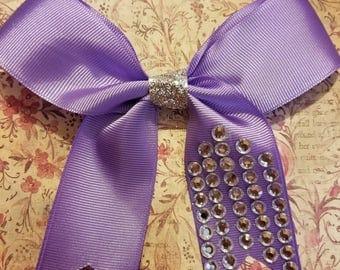 Lavender bow with rhinestone