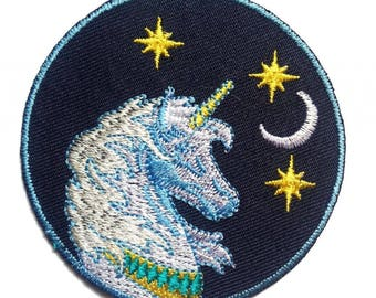 Aufnäher / Bügelbild - Einhorn Kinder - blau - 7 x 7 cm - by catch-the-patch® Patch Aufbügler Applikationen zum aufbügeln Applikation Patches Flicken