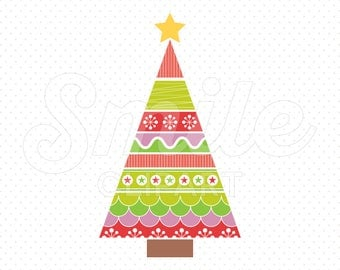 MODERN CHRISTMAS TREE Clipart Illustration for Commercial Use | 0063