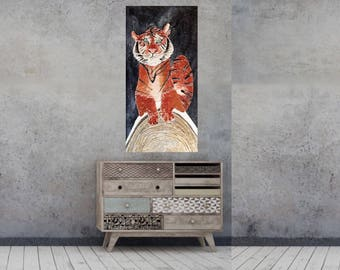 Original textured tiger art black white orange fine art painting 48x24