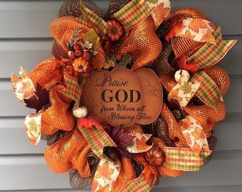 Fall Wreath for Front Door, Deco Mesh Fall Wreath, Orange and Brown Wreath, Autumn Wreath, Thanksgiving Wreath, Pumpkin Wreath