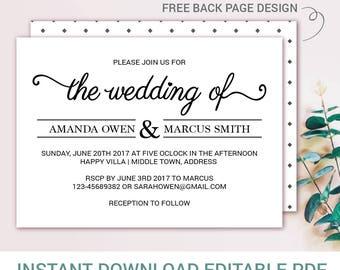 wedding invitation, Wreath Kraft Invitation, Rustic Wedding Invitation, Wedding Invitation Printable, the wedding of, PDF Instant Download