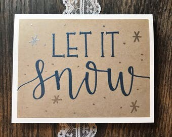 Set of 5 Let it Snow Holiday Greeting Cards with Blue and Silver Embossed Lettering - Rustic Hand Lettered Modern Calligraphy