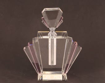 large Art Deco design clear and pink glass fan shaped scent bottle