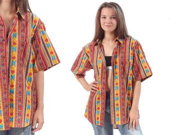 Tribal Bold Shirt 90s AZTEC Summer Shirt Men's Red Yellow Blue Vintage Oversize Button Up Short Sleeve Vacation Unisex Festival Shirt Large