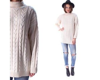 White FISHERMAN Sweater 80s GRUNGE TURTLENECK Pullover Braided Jumper Hipster Vintage Normcore Boyfriend Pullover Medium