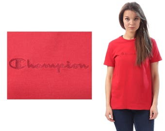 Red Champion Shirt 90s Sport T Shirt Minimal Tee 1990s Sports Hipster Retro Tee Vintage Cotton Normcore Shirt Medium
