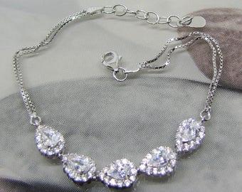 Sparkling 925 sterling silver and oxide of Zirconium bracelet